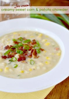 Gluten-free Creamy (No Cream!) Sweet Corn and Potato Chowder is thick and creamy, yet made with no cream at all. | iowagirleats.com