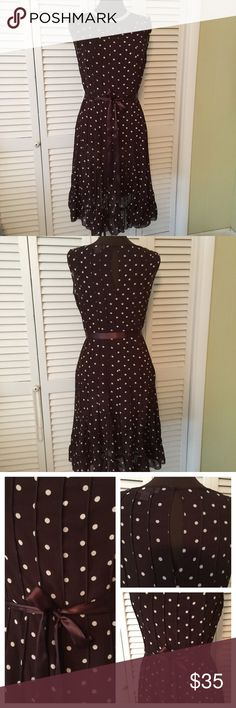 Brown and White flared Polka Dot Dress A hard to find style.  This is just a beauty.  Polka dots say it all.  Excellent condition Dress Barn Dresses Midi