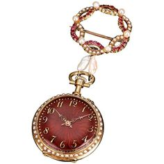 For Sale on - This stunning ladies' lapel watch is adorned with lovely crimson guilloché enamel on the dial and back. Counting the hours with gold hands, this Swiss Fine Jewelry, Women Jewelry, Pocket Watch Antique, Gold Hands, Victorian Jewelry, Watch Sale, Cool Watches, Women's Watches, Vintage Watches