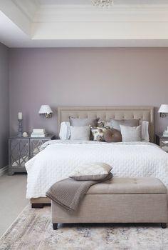 chambre decoration taupe et blanc beige bois DIY tete de lit ...