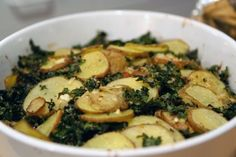 Recipe: Kale and Potato Gratin...healthy. Not as good as with cream and nutmeg, but ya know...healthy.