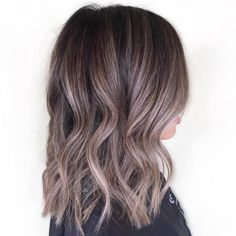dark brown hair with ash brown highlights