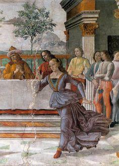 Domenico Ghirlandaio - Herod's Banquet -  1486-90 Technique: Fresco  Location: Cappella Tornabuoni, Santa Maria Novella, Florence