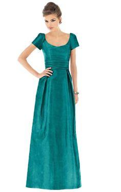 Cheap A-line Zipper Short Sleeves Satin Floor-length Bridesmaid Dresses Free Measurement