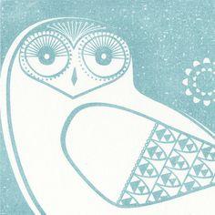 Snowy Owls in Midwinter Blue - Handpulled Print