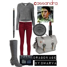 Dragon Age - Cassandra by dwarva on Polyvore featuring beauty, NARS Cosmetics, Estée Lauder, ful, Witchery, Boohoo and Fergie