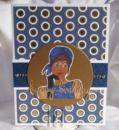 African American Woman Happy Birthday Greeting Card by PlaysNicelyWithPaper on Etsy