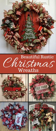 I'm in love with this selection of beautiful rustic christmas wreaths. Would go perfect on my farmhouse front door. Chech them out! #christmas #wreath #rustic #afflink #braincomfort