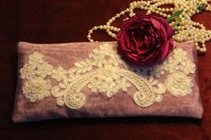Silk Lavender Eye Pillow with Laces by AnnaLavenderDream on Etsy