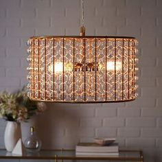 Dining room table light Marney Glass Chandelier - Drum #westelm