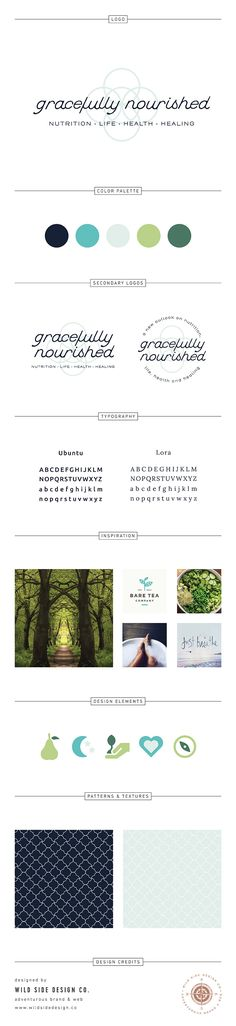 Gracefully Nourished Brand Board - Simple Natural Holistic Nutritionist Brand Design - Circles, Calm, Yoga, Healthy, Healing www.wildsidedesign.co