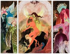 Naudline Cluvie Pierre Lead Me Gently Home, Oil on canvas, 96 x 120 inches (triptych). Hi Fructose, Renaissance Art, Triptych, Western Art, Magazine Art, New Artists, Cool Artwork, American Art, Art Inspo