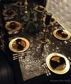A Gilded, Golden New Year's Eve Tablescape Idea. Glittery gold and black bow… A Gilded, Golden New Year's Eve Tablescape Idea. Glittery gold and black bow-tie napkins for an upscale New Years Eve tablescape New Years Eve Decorations, Gold Christmas Decorations, Christmas Table Settings, Christmas Tablescapes, New Years Eve Table Setting, New Year Table, Black Christmas, Christmas And New Year, Festa All Black