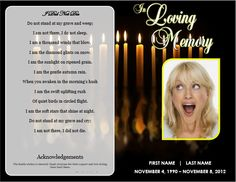 Single Fold Beach Funeral Program Template For Download Printable