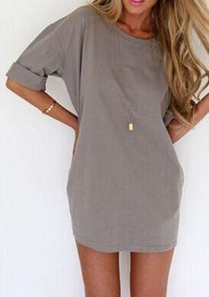 Gray Half Sleeve A-Line Summer Dress