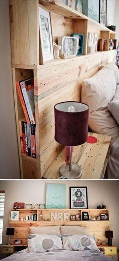 Une tête de lit fabriquée à partir de palettes avec des étagères, des espaces de rangement et des tables de chevet intégrées !     http://www.homelisty.com/tete-lit-palette/