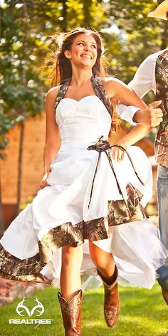 15 Camo Wedding Dresses To Hide In A Forest ❤ See more: http://www.weddingforward.com/camo-wedding-dresses/ #wedding