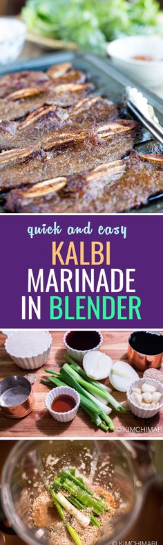 Easy Kalbi marinade made in a blender! Perfect for a Korean bbq and the clean up is simpler :)