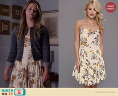 Ali's cream floral dress on Pretty Little Liars.  Outfit Details: http://wornontv.net/36139/ #PLL