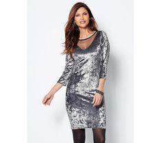 Zamatové šaty s čipkou a 3/4 rukávom | modino.sk #ModinoSK #modino_sk #modino_style #style #fashion #dress Coquet, Peplum Dress, Cold Shoulder Dress, Transparent, Polyester, Collection, Tulle, Silhouette, Dresses