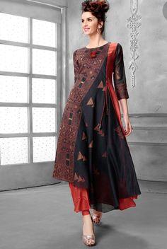 Shop Black georgette cap style kurti online from India. Designer Kurtis, Designer Dresses, Cotton Dresses Online, Fancy Suit, Pakistani Wedding Outfits, Indian Attire, India Fashion, Indian Designer Wear, Indian Dresses