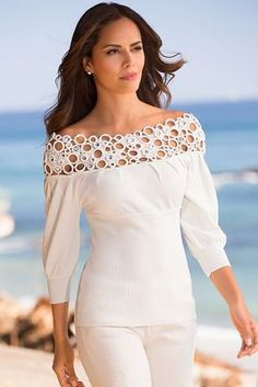 Intricate macram&#233 intertwines with faceted jeweled circles to create an alluring gathered neckline that leads to a curve-hugging ribbed bodice and three-quarter sleeve cuf