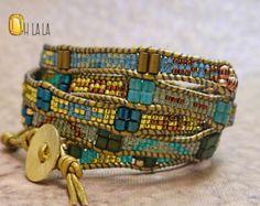 Bracciale in pelle Wrap Bracciale gioielli bohemien Wrap con cristalli e perline su pelle oro
