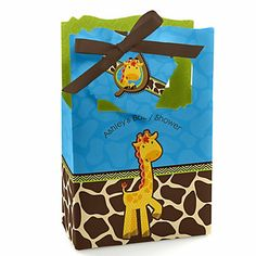 Giraffe Boy - Personalized Baby Shower Favor Boxes | BigDotOfHappiness.com