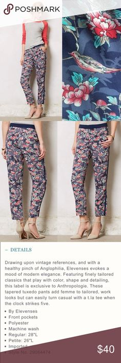 Elevenses Floral Tuxedo Dress Pants One of my favorite pair of pants. They are super comfortable and the material of the pants is very silky.  In very good used condition. Anthropologie Pants Trousers