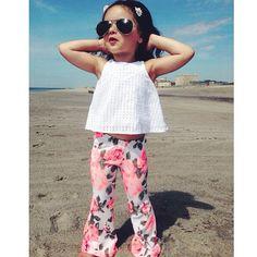 Harlow Jade Bell Bottoms, Girls Fashion Cute Little Girls Outfits, Girls Summer Outfits, Toddler Girl Outfits, Summer Girls, Kids Outfits, Summer Clothes, Baby Girl Fashion, Toddler Fashion, Kids Fashion