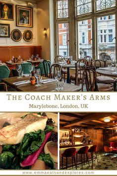 The Coach Maker's Arms Pub in Marylebone, London - Part of the Cubitt House Pub Group. Top floor dining room restaurant with local, sustainable, seasonal menu. Pub on ground Floor with Ales, Wine & Bar Snacks. Cocktail Bar in Basement with Private Dining and Function area.