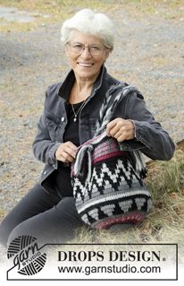 Pueblo - Crochet bag with colored pattern. The piece is worked in DROPS Eskimo. - Free pattern by DROPS Design Drops Design, Tapestry Crochet Patterns, Knitting Patterns Free, Free Knitting, Crochet Handbags, Crochet Purses, Crochet Bags, Crochet Shell Stitch, Free Crochet