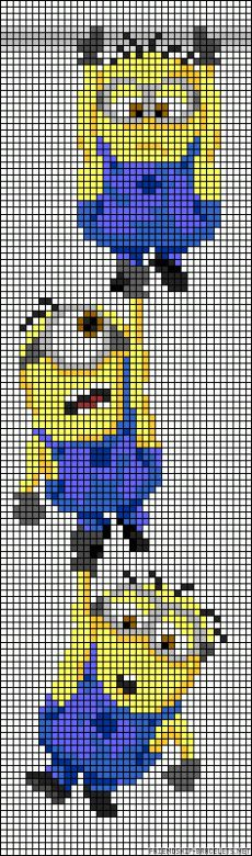 Did the Minions do it to you and your children too? And you are planning a . - Children's birthday ideas Did the Minions do it to you and your children too? Are you planning to have the Minions do it to y Cross Stitching, Cross Stitch Embroidery, Cross Stitch Patterns, Minions, Hama Beads Patterns, Beading Patterns, Beading Ideas, Pixel Art, Minion Pattern