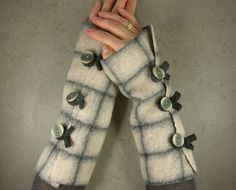 these are some of my favorite arm cuffs. This lady has some wicked talent- you should check out her Etsy Shop- Pia Barille - fun hand crafted items for a nice price! Wrist Warmers, Hand Warmers, Arm Cuffs, Steampunk Accessories, Fingerless Mittens, Craft Items, Fabric Crafts, Eco Friendly, Style Me