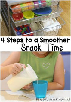 Teachers! Incorporate these 4 easy steps to create a smoother, more pleasant, stress-free snack time with your preschool class.