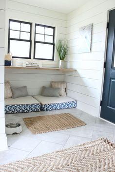 MUDROOM TOUR with built in dog beds.