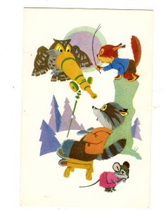 vintage Russian postcard Adorable Forest  by sharonfostervintage, $5.00