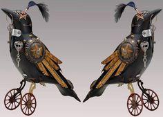 Spicytec: Songbirds Steampunk Sculptures by Mullanium