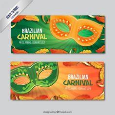 Banners de máscaras naranja y verde de carnaval Vector Gratis