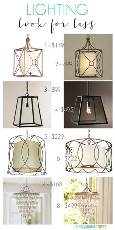 Lighting Look for Less - Life On Virginia Street. Love these designer looking lights available at a fraction of the designer version.