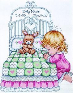 Bedtime Prayer Girl Sampler, Tobin Baby Cross Stitch Kit by Design Works