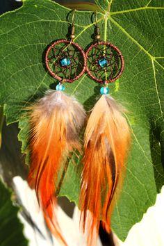Blue Gypsy Dream Catcher Earrings by nZuriArtDesigns on Etsy