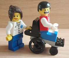 LEGO-Mini-figure-Town-City-Hospital-Patient-in-a-Wheelchair-with-Nurse