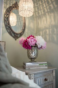 Lots of silver: http://www.stylemepretty.com/vault/search/images/nightstand