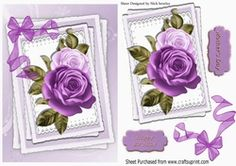 Pretty purple painted roses on lace with organza bow on Craftsuprint - View Now!