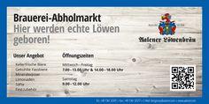 Brauerei-Abholmarkt Beschilderung Advertising, Mineral Water, Signage, Brewery, Lemonade, Beer