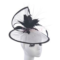 Black White Kentucky Derby Hat Black Wedding Hat, White Bridal Hat Black Fascinator White, Feather Fascinator Party Hat Headband-FS140009 on Etsy, $35.00