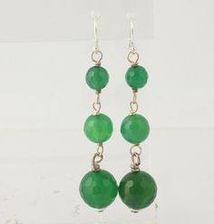 NEW Beaded Green Chalcedony Earrings - Sterling Silver Women's Pierced Dangle #DropDangle $9.99