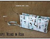 """Teepee Village in Aqua"" Nappy Clutch A$28.00 plus postage  (Nappy Clutch / Diaper Clutch / Nappy Wallet / Diaper Wallet)"