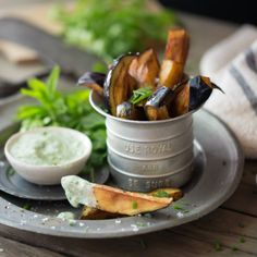 Fried aubergine fingers, dusted with paprika & served with a fresh herbed yoghurt sauce (photography by Tasha Seccombe)